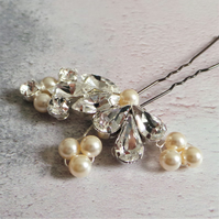 Goddess Crystal Hair Pin - Bridal Diamante Hair Clip - Pearl Wedding Headdress