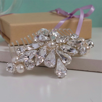 Goddess Crystal and Pearl Bridal Hair Comb - Handmade Wedding Headdress