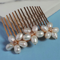 Pearl Gold Floral Bridal Hair Comb - Pearl and Crystal Wedding Headdress