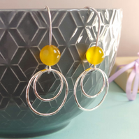Yellow Bead Circle Drop Earrings - Jewellery Gift For Her