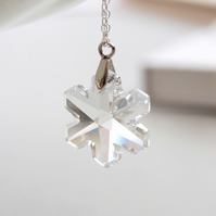 Crystal Snowflake Necklace with Sterling Silver