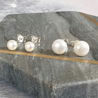 Large Pearl Stud Earrings - Handmade Pearl and Silver Studs