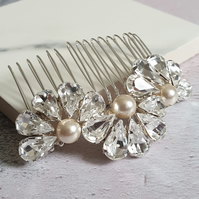 Feather and Fan Crystal Hair Comb - Crystal Diamante Bridal Hair Comb