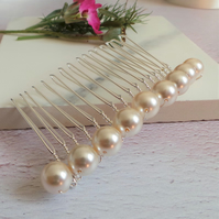 Bliss Ivory Pearl Hair Comb - Simple Ivory Pearl Wedding Headdress