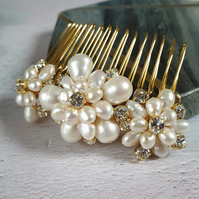 Emily Gold and Ivory  Pearl Floral Bridal Hair Comb - Botanical Wedding Headdres