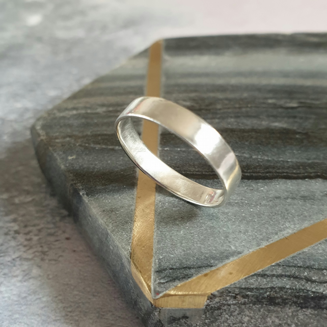 Wide Silver Band - Brushed Finish Sterling Silver Ring