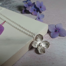 Hydrangea Sterling Silver Necklace