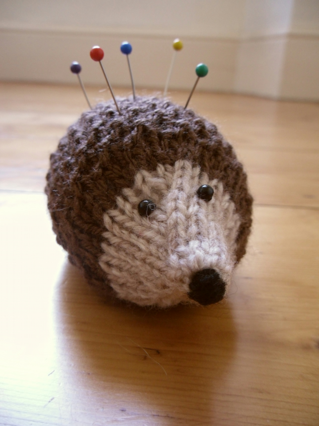 Stuffed Hedgehog Knitting Pattern : Knitted Hedgehog Pin Cushion - Folksy