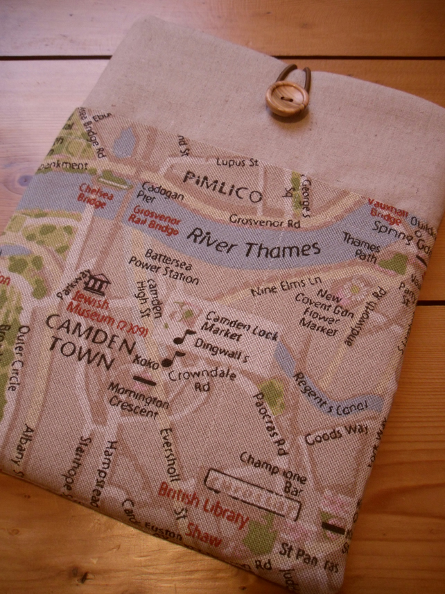 iPad  Cover, iPad Sleeve in London Map Fabric