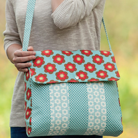 Groovy Satchel Messenger Style Bag handmade in aqua and red Moda fabrics