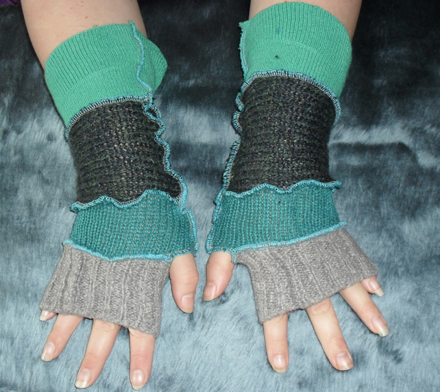 Upcycled patchwork arm warmers elf pixie gloves recycled