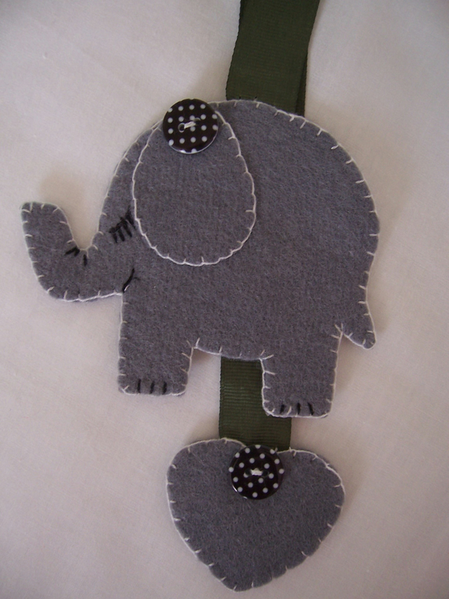 Pretty Felt Grey Elephant Bookmark