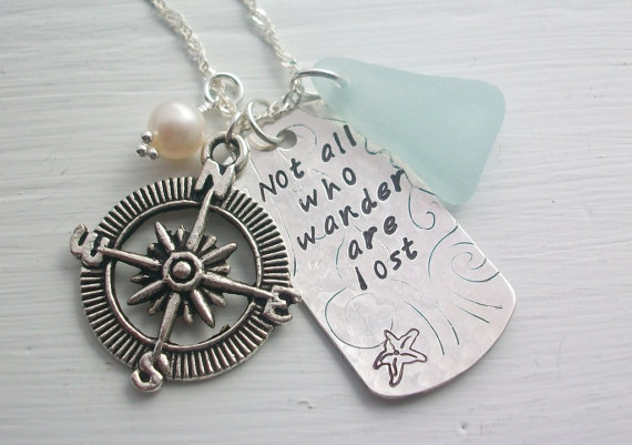 Scottish Sea Glass and Handstamped Silver and Compass Necklace .......... WANDER