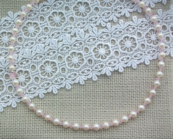 Fresh Water Pearl and Swarovski Crystal Necklace - Made to Order