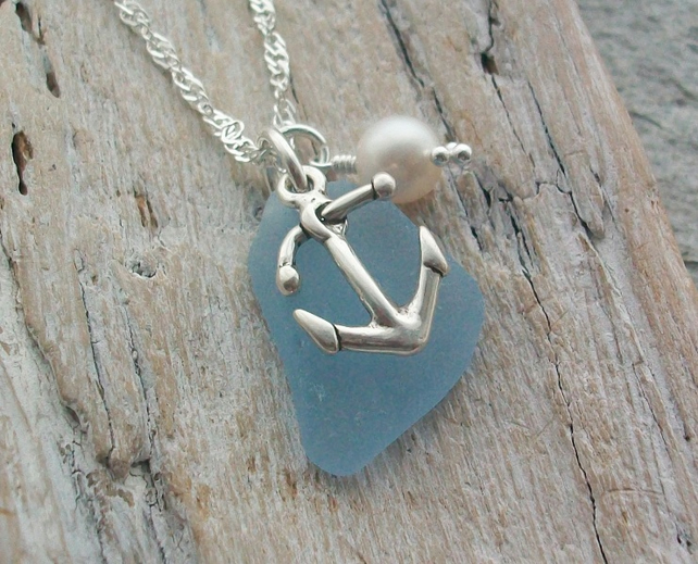 Sterling Silver Anchor and Scottish Sea Glass Necklace -  ANCHOR