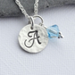 Personalised Sterling Silver Initial and Swarovski Birth Stone Necklace