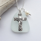 Scottish Sea Glass and Floral Cross Necklace