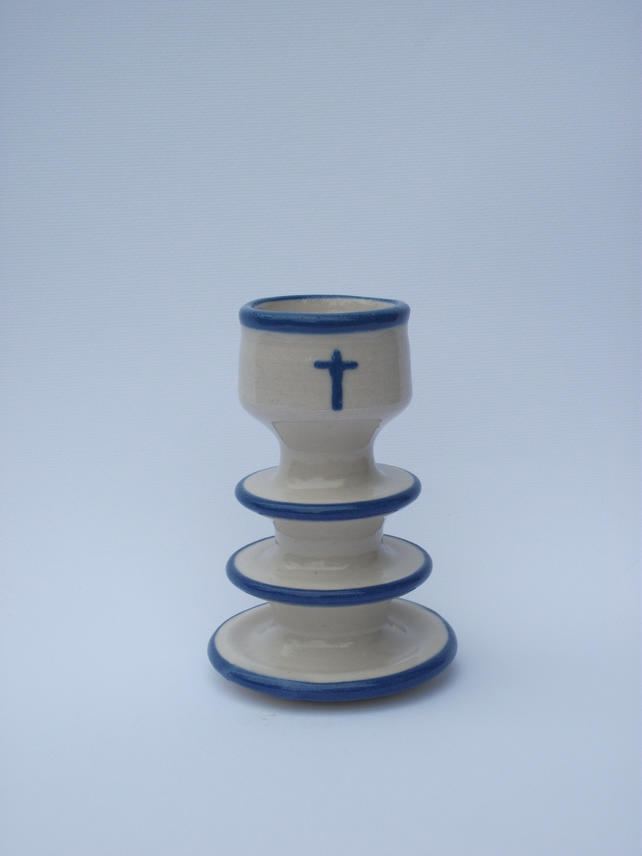 Blue Christening or New Baby Candlestick