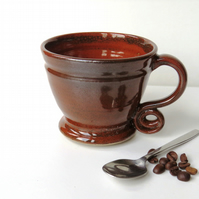 Small Russet Red 9oz Coffee Cup Pottery Stoneware Handthrown