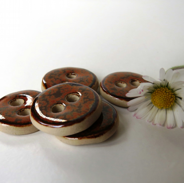 Russet, Brown, Orange, Mottled Button 20mm Round shape Small