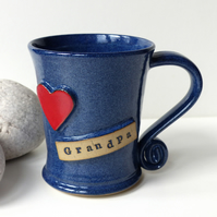 Love Grandpa Blue Mug Red Heart  Ceramic Pottery Handmade
