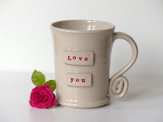 Love you -  White Cream Mug,  Ceramic Pottery Handmade Stoneware Coffee Tea