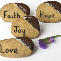 Box of 4 Word Stones - Love, Hope, Faith and Joy. Helpful Pottery Ceramics UK