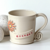 Grandma  -  White Cream Mug,  Ceramic Pottery Handmade Stoneware Coffee Tea