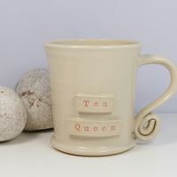 Tea Queen -  White Cream Mug,  Ceramic Pottery Handmade Stoneware Wheel Thrown