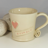 Grandma Heart - White Cream Mug, Ceramic Pottery Handmade Stoneware Coffee Tea