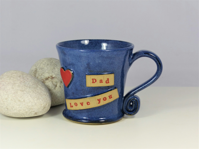 Dad Love You & Red Heart - Personalised  Blue  Mug Cup Ceramic Pottery Stoneware