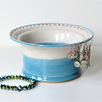 Blue & White Ceramic Jewellery Bowl to display earrings, bracelets and bangles.