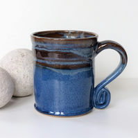Landscape Blue Mug - Tea, Coffee, Hot Chocolate, Ceramic Stoneware Pottery