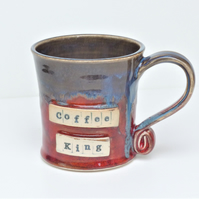 Coffee King - Personalised  Blue  Mug Cup Ceramic Pottery Stoneware