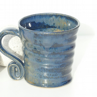 A Wonderful  Blue Stoneware  Mug  Ceramic Pottery Coffee Tea