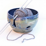 SECONDS Yarn - Knitting Bowl Ceramic Pottery Handthrown Blue Green UK