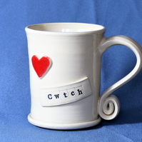 Cwtch  -  White Cream Mug,  Ceramic Pottery Handmade Stoneware Coffee Tea
