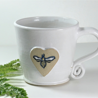 Large White Bee Mug - Handmade Wheelthrown Stoneware Pottery