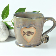 Fish in a deep pool Mug - Handmade Wheelthrown Stoneware Ceramics