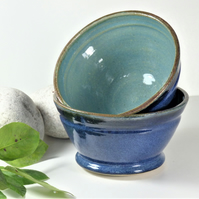 Smooth Blue Breakfast - Soup - Salad - Olive - Tapas Bowl Ceramic Stoneware