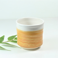 Elegant Saffron Yellow and White Mini Tumbler Espresso cup Ceramics Stoneware UK