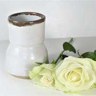 Beautiful White Stoneware Ceramic Bud Vase Pottery UK