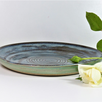 Wheelthrown spiral stoneware serving plate
