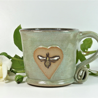 Lovely Green Bee Mug - Handmade Wheelthrown Stoneware Pottery
