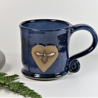 Lovely Blue Bee Mug - Handmade Wheelthrown Stoneware Pottery