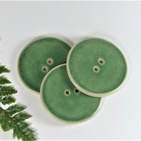 6cm  Big Green Handmade Ceramic Button - 6cm Buttons