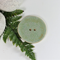 6cm  Big Mottled Green  Handmade Ceramic Button - 6cm Buttons