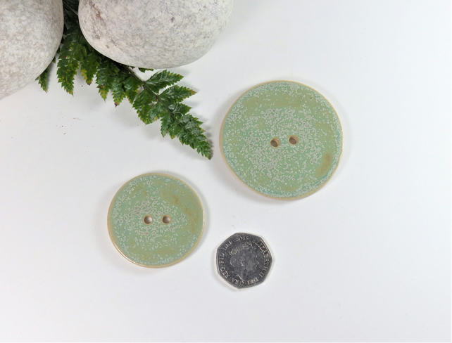 4.5cm  Big Mottled Green Handmade Ceramic Button Buttons