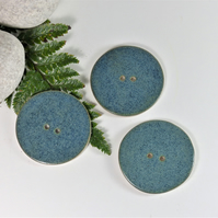 6cm  Big Handmade Ceramic Button - Bluey Green 6cm Buttons