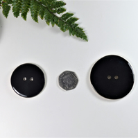 4.5cm  Big Shiny Black Handmade Ceramic Button Buttons